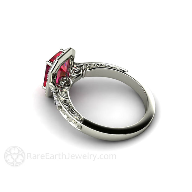 Vintage Art Deco Style Ruby Ring Filigree Halo Rare Earth Jewelry