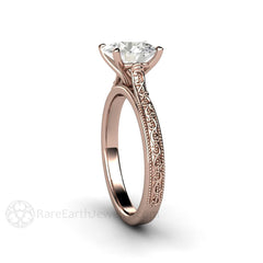 Round Cut 2ct Moissanite Anniversary Ring 14K Rose Gold Vintage Design Rare Earth jewelry