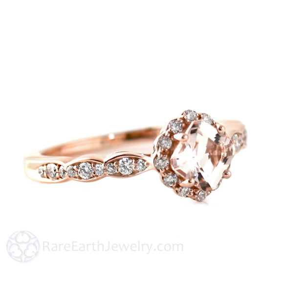 Rose Gold Asscher Morganite Halo Engagement Ring Rare Earth Jewelry