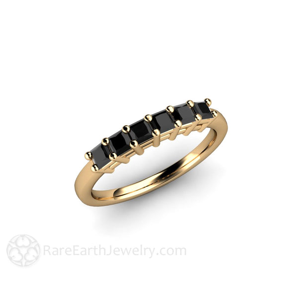 14K Yellow Gold Black Diamond Stackable Band Rare Earth Jewelry