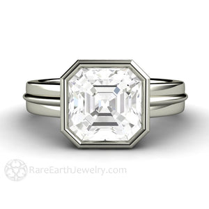 Rare Earth Jewelry 3ct Asscher White Sapphire Engagement Ring
