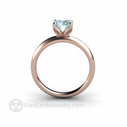 Aquamarine Ring Minimalist Solitaire Flower Petal Design Rose Gold Rare Earth Jewelry