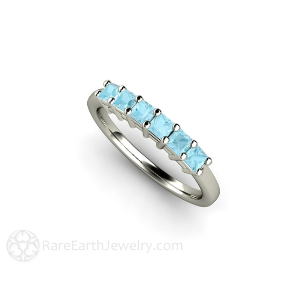 March Birthstone Ring or Anniversary Band Blue Aquamarine 14K Rare Earth Jewelry