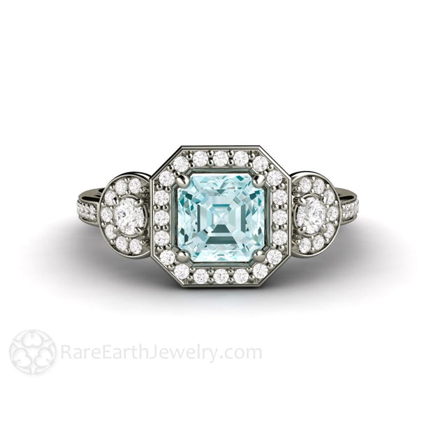Asscher Cut Aquamarine Three 3 Stone Ring Rare Earth Jewelry