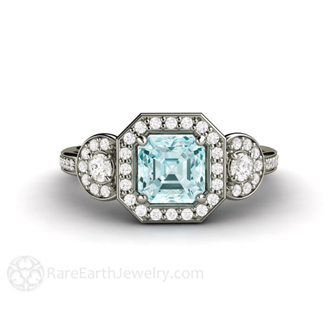 Asscher Aquamarine Engagement Ring 3 Stone Diamond Halo