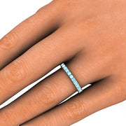 Aquamarine Band on Finger 14K Round Cut Natural Gemstones Rare Earth Jewelry