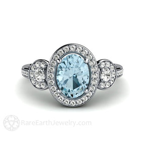 Rare Earth Jewelry Oval Aquamarine Diamond Halo Ring 14K Gold 3 Stone Setting