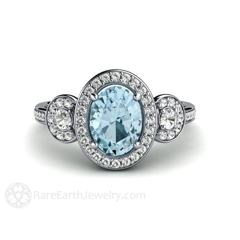 Diamond Halo Aquamarine Engagement Ring Oval 3 Stone