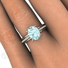 Oval Aquamarine Anniversary or March Birthstone Ring on Finger Rare Earth Jewelry