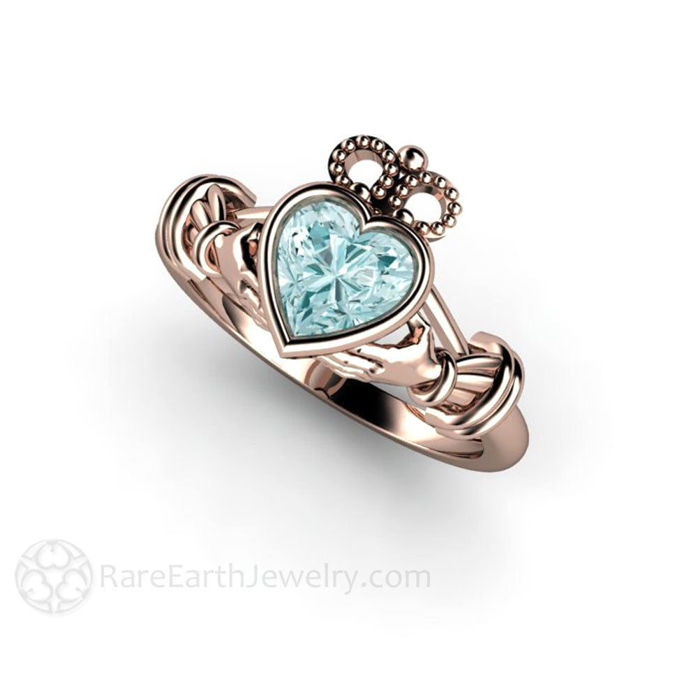Aquamarine Claddagh Ring Irish Promise Ring by Rare Earth Jewelry