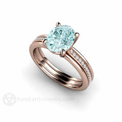 Rare Earth Jewelry Oval Aquamarine Ring Triple Band with Diamonds Rose Gold Setting