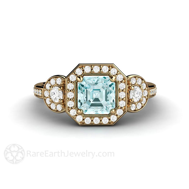 Aquamarine March Birthstone Diamond Halo Ring Rare Earth Jewelry