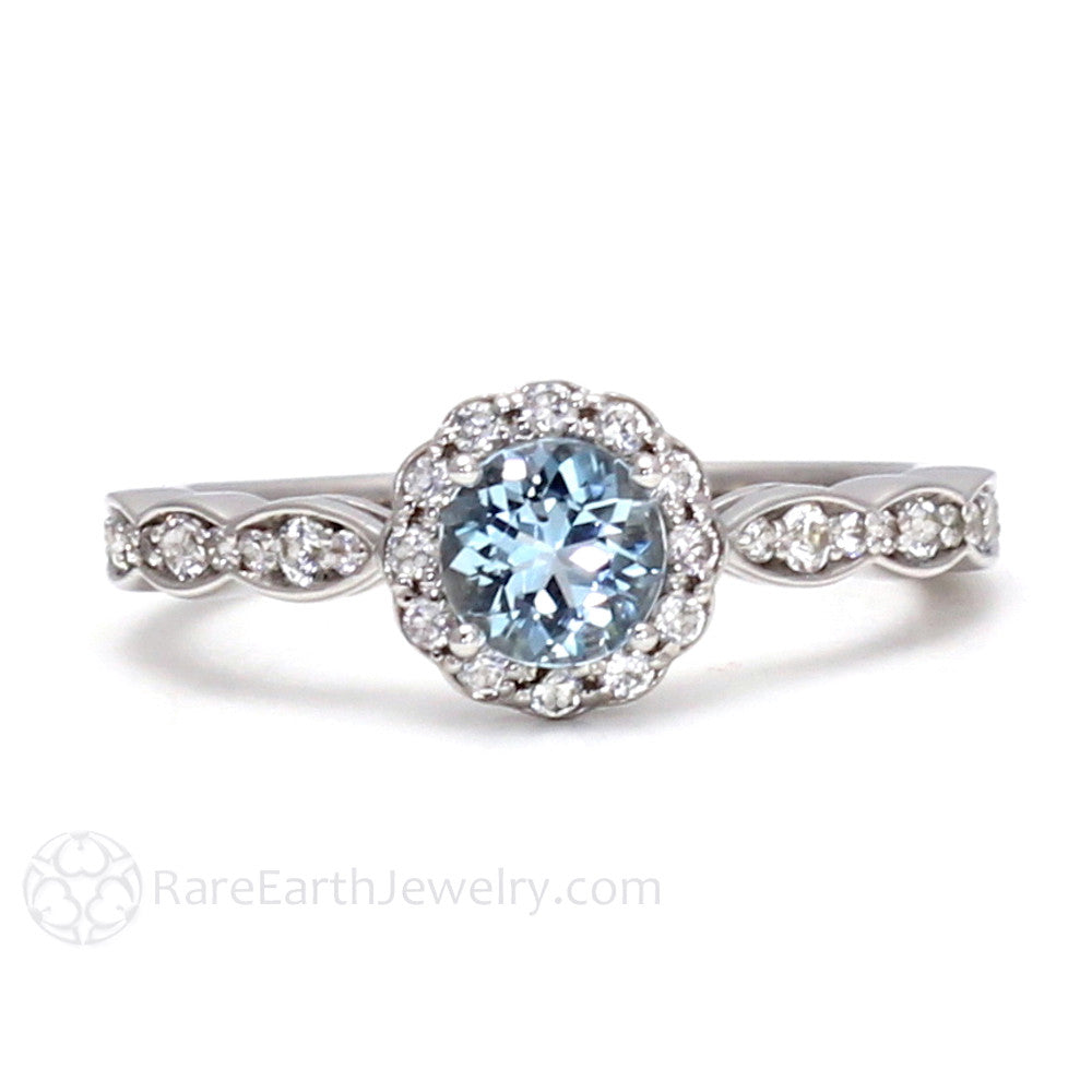 Aquamarine Ring Vintage Style Engagement Diamond Halo