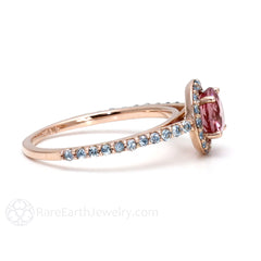 Round Cut Pink Tourmaline Ring with Aquamarine Halo Rare Earth Jewelry