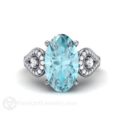 Rare Earth Jewelry 3 Stone Oval Aquamarine Diamond Ring March Birthstone