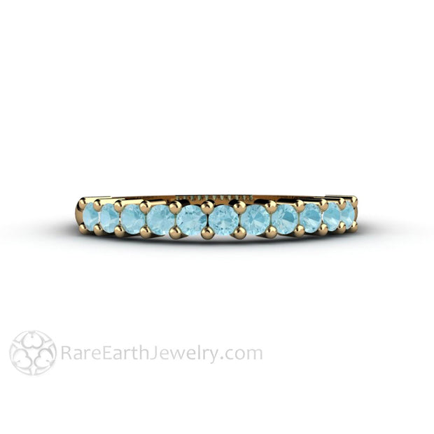 Rare Earth Jewelry 14K Aquamarine Anniversary Band Stacking Ring