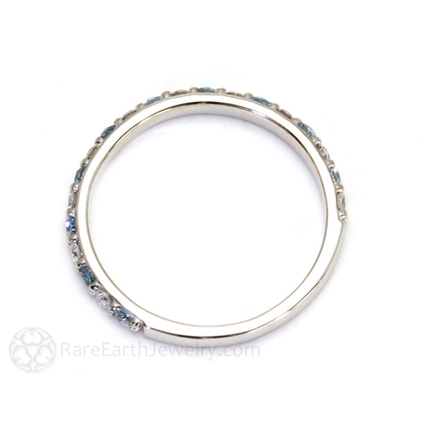 Rare Earth Jewelry Diamond and Aquamarine Stackable Ring