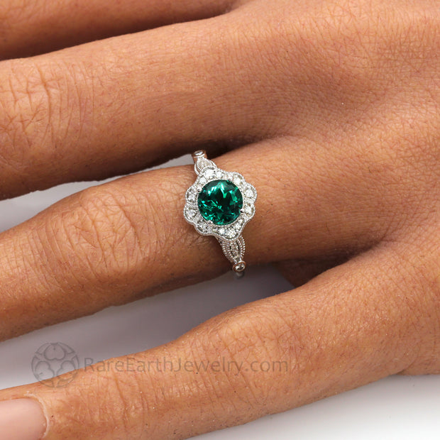 Vintage Inspired Green Emerald Engagement Ring Art Deco Ornate Halo