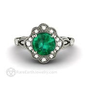 Art Deco Style Chatham Emerald Engagement Ring With Ornate Diamond Halo