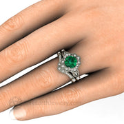 Art Deco Design Green Emerald Wedding Set with Tiara Wedding Ring On the Finger