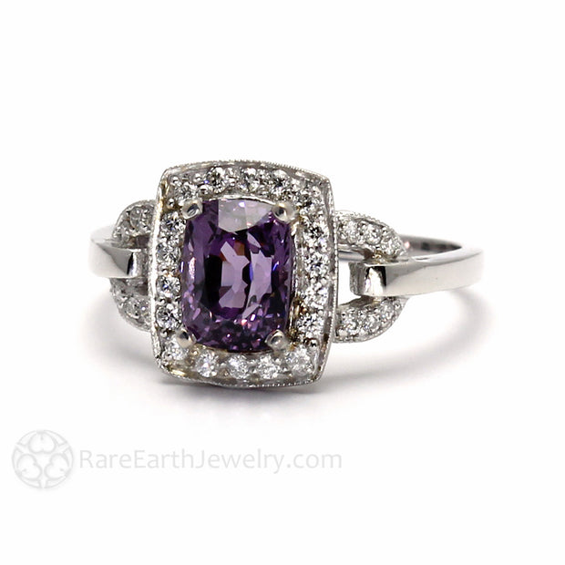 Vintage Inspired Engagement Ring with Natural Purple Gemstone