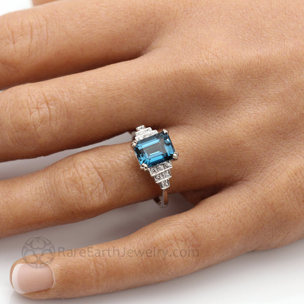 Blue Gemstone Engagement Ring Unique Art Deco Style with Emerald Cut London Blue Topaz from Rare Earth Jewelry