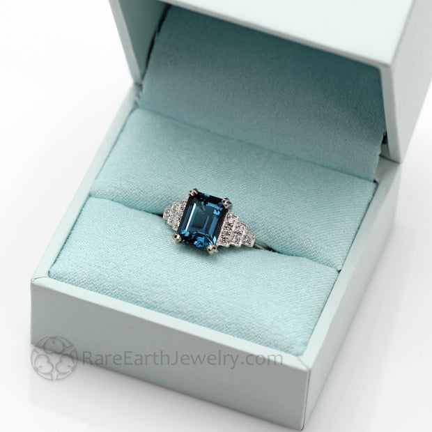 Vintage Inspired London Blue Topaz Engagement Ring with Diamonds Art Deco Design Custom made by Rare Earth Jewelry