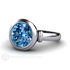 Bezel Set Blue Spinel Gemstone Ring 3ct Round Cut