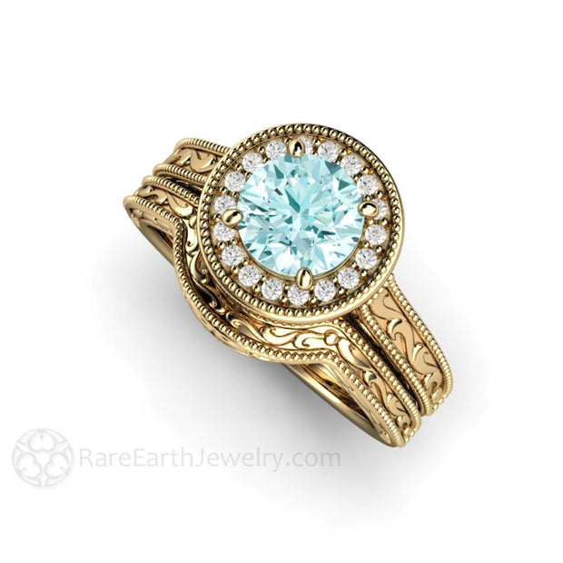 Art Deco Wedding Ring Set Moissanite Blue Diamond Alternative 14K Gold Rare Earth Jewelry