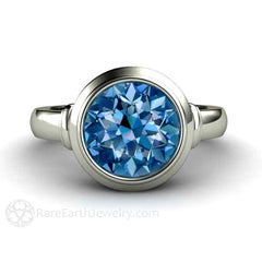 Rare Earth Jewelry Spinel Ring Round Cut Blue Solitaire Bezel Set