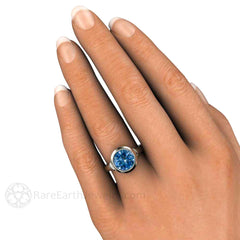 Denim Blue Round Cut Spinel Ring on Finger Rare Earth Jewelry