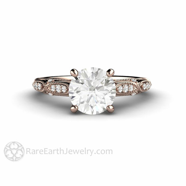 Rare Earth Jewelry Moissanite Wedding Ring 1.5 Carat Round Cut Center Stone with Diamond Accents 14K Rose Gold