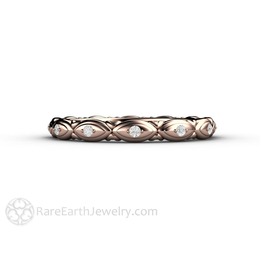 Rare Earth Jewelry Art Deco Eternity Band Wedding Ring 14K Rose Gold with Natural Diamond Accent Stones