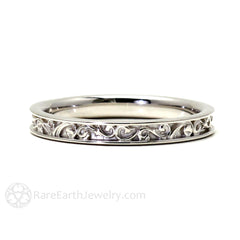 Rare Earth Jewelry Art Deco Wedding Band Vintage Filigree Scroll