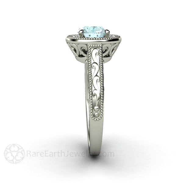 Blue Moissanite Halo April Birthstone Ring Diamond Alternative 14K Rare Earth Jewelry