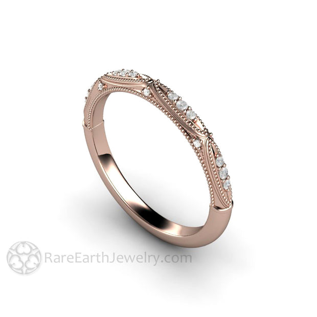 Rare Earth Jewelry Art Deco Wedding Band Rose Gold with Diamonds and Milgrain