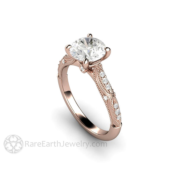 Rare Earth Jewelry 14K Rose Gold Moissanite Wedding Ring Colorless 7.5mm Round Cut Solitaire Vintage Design