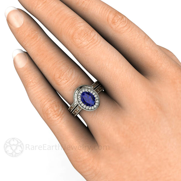 14K Royal Blue Oval Sapphire Solitaire Wedding Ring Set on Finger Rare Earth Jewelry