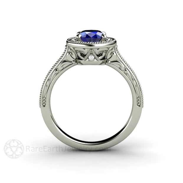Art Deco Style Oval Blue Sapphire Solitaire September Birthstone Ring Rare Earth Jewelry