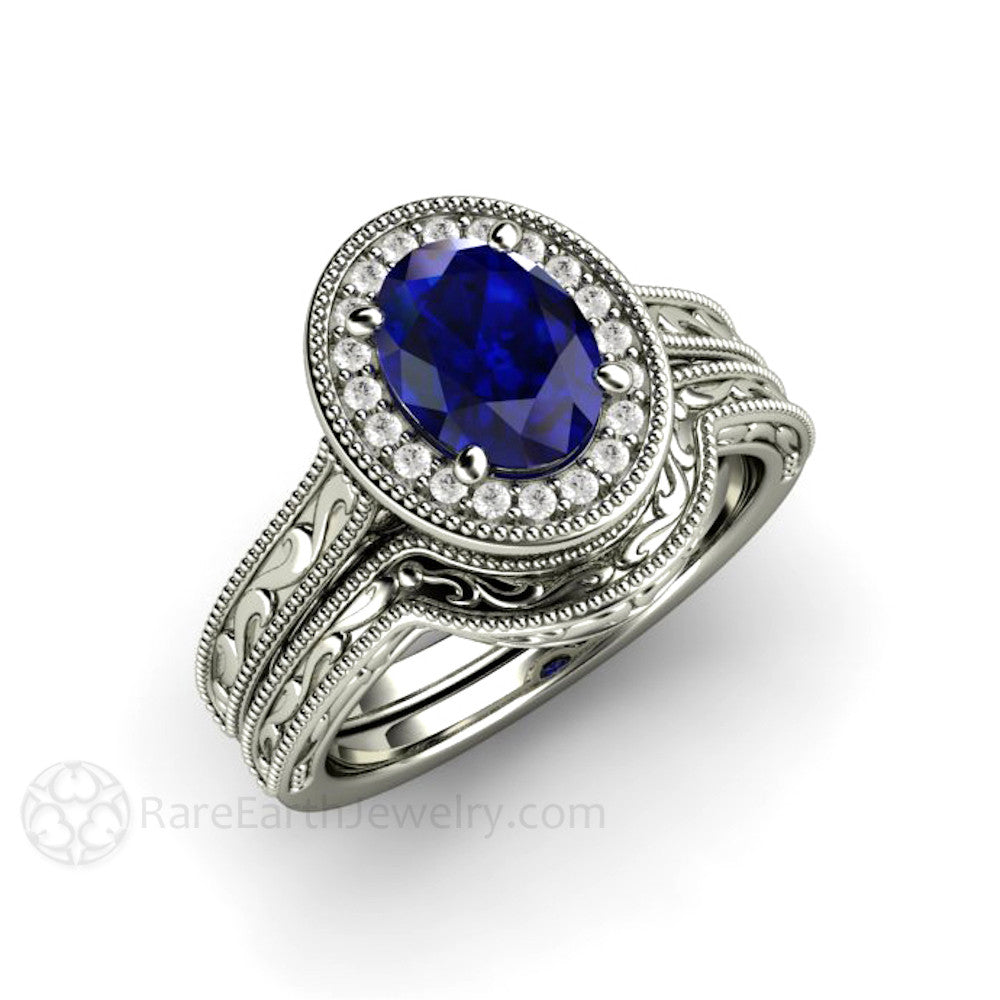 Blue Sapphire Engagement Ring Oval Antique Diamond Halo