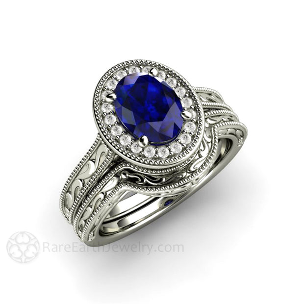 Oval Cut Blue Sapphire Wedding Ring Set Vintage Art Deco Filigree Halo Rare Earth Jewelry