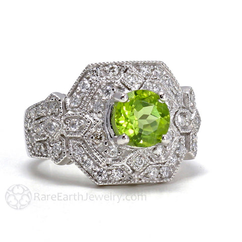 Art Deco Peridot Ring with Diamonds Vintage Style Pave and Milgrain
