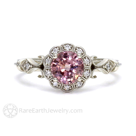 Art Deco Pink Spinel Ring Vintage Engagement with Milgrain and Diamond Halo