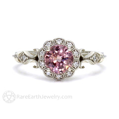 Rare Earth Jewelry Art Deco Pink Spinel Ring Vintage Engagement 14K or 18K Gold