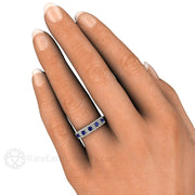 Deco Blue Sapphire Ring with Diamonds on Finger Rare Earth Jewelry