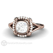 Rare Earth Jewelry 14K Rose Gold Cushion Cut Moissanite Ring Art Deco Design with Diamond Halo and Split Shank