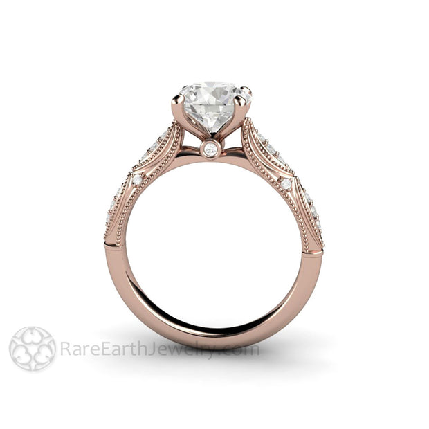 Rare Earth Jewelry 1.5 Carat Moissanite Anniversary Ring or Diamond Alternative Engagement 14K or 18K Rose Gold with Milgrain