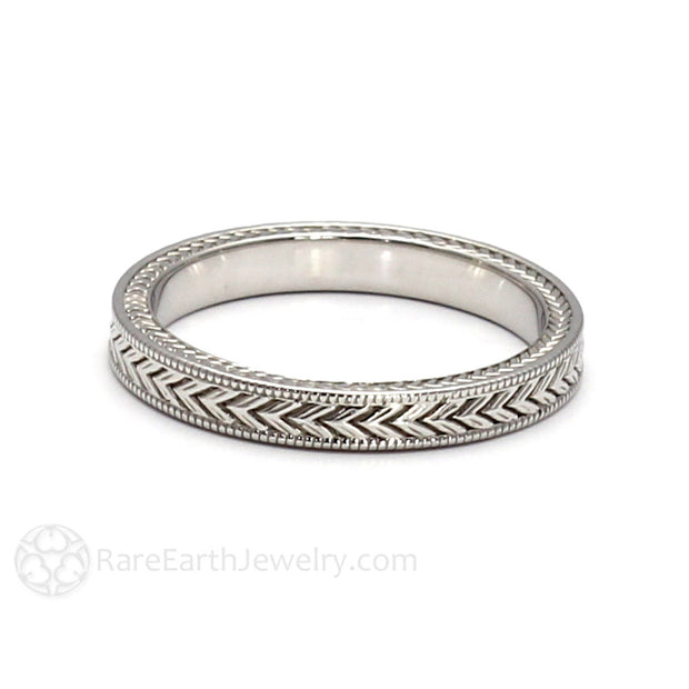 Rare Earth Jewelry Chevron Pattern Milgrain Wedding Band 3MM Vintage Style