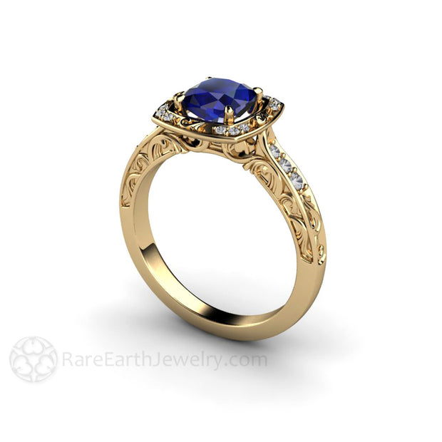 September Birthstone Ring Sapphire Halo 14K Gold Rare Earth Jewelry