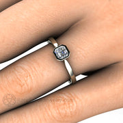 Asscher Bezel Diamond Engagement Ring on Finger White Gold Affordable Rare Earth Jewelry